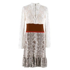 Chloe Python Print Jacquard Knit and Lace Dress S