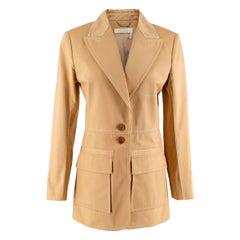 Chloe Quiet Brown Cotton Single Breasted Blazer Jacket - US size 6