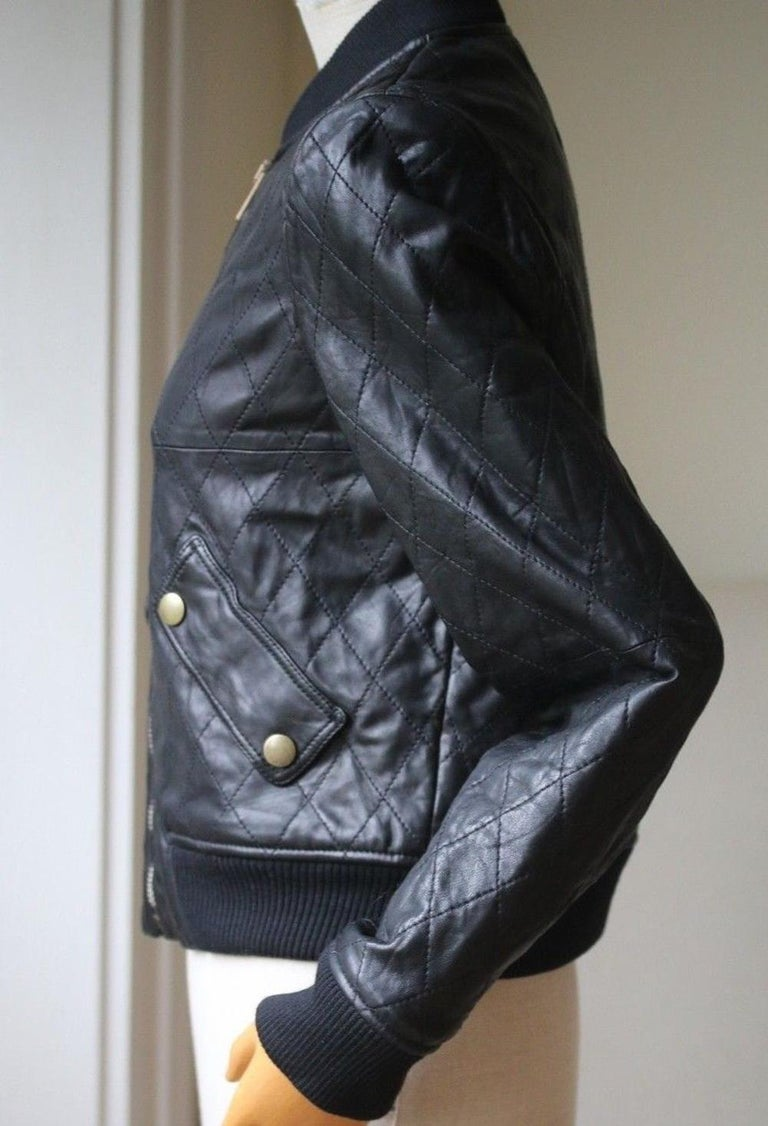 Black Chloé Quilted Leather Bomber Jacket