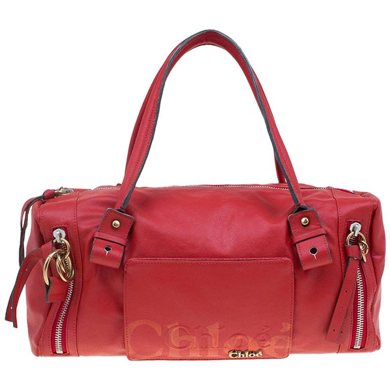 Chloe Red Faux Leather Bowling Bag For Sale at 1stdibs 0610958633dc4