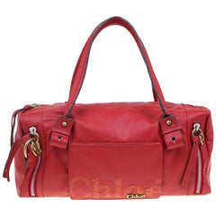 Chloe Red Faux Leather Bowling Bag