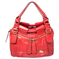 Chloe Red Leather Bay Satchel