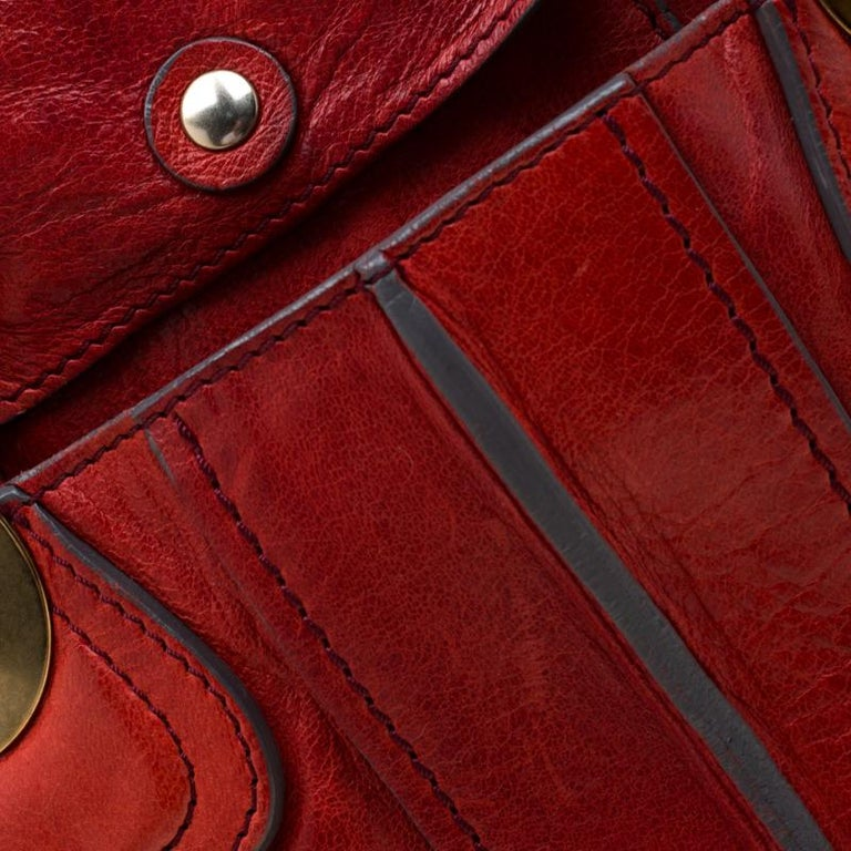 Chloe Red Leather Heloise Satchel For Sale 7