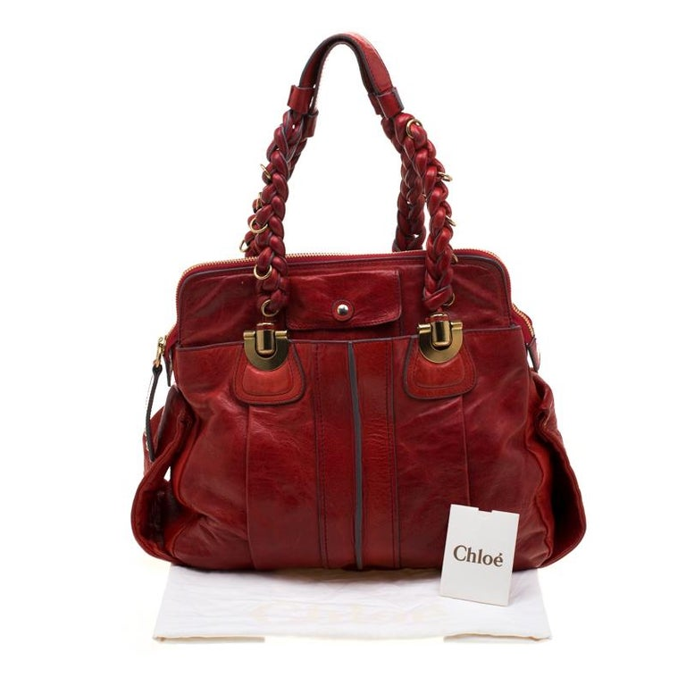 Chloe Red Leather Heloise Satchel For Sale 8