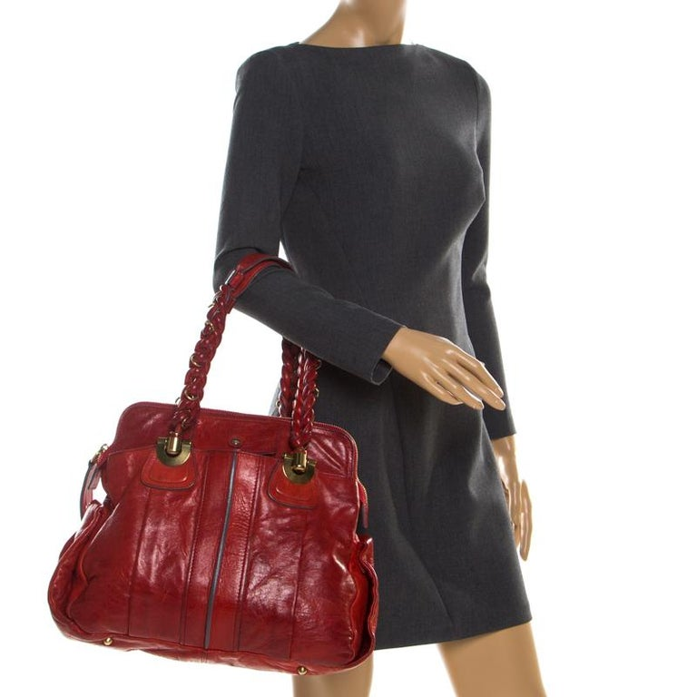 Chloe Red Leather Heloise Satchel In Excellent Condition For Sale In Dubai, Al Qouz 2