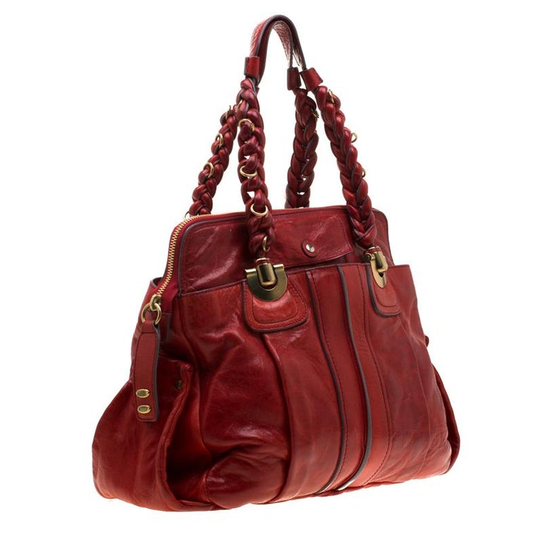 Women's Chloe Red Leather Heloise Satchel For Sale