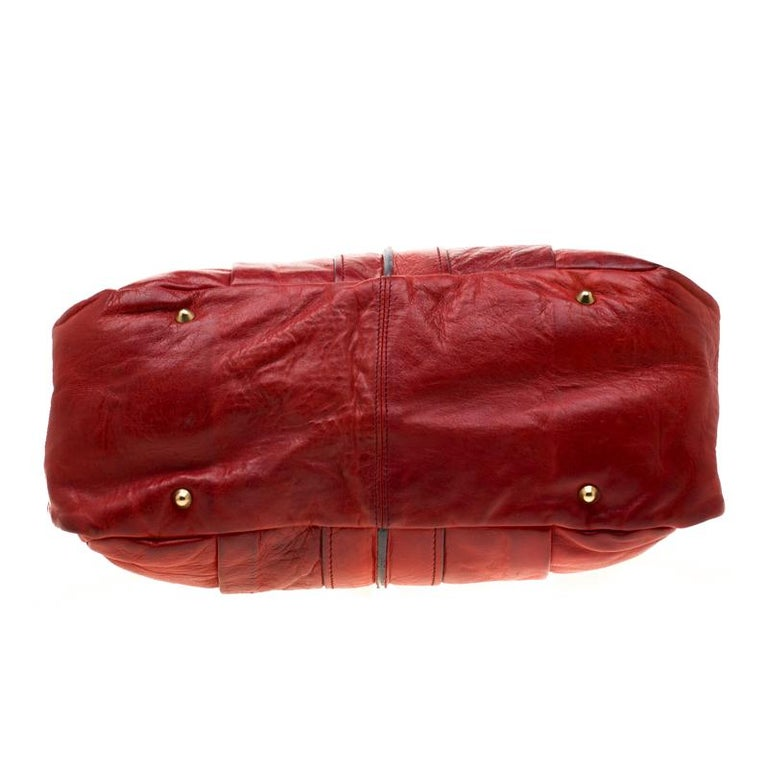 Chloe Red Leather Heloise Satchel For Sale 1