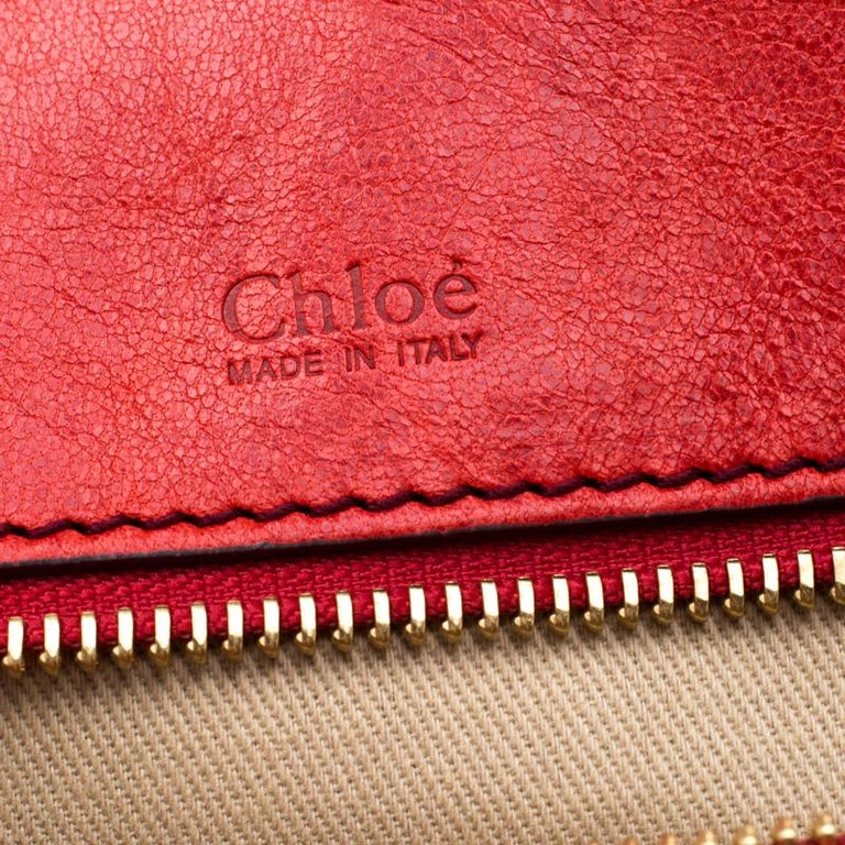 Chloe Red Leather Heloise Satchel For Sale 3