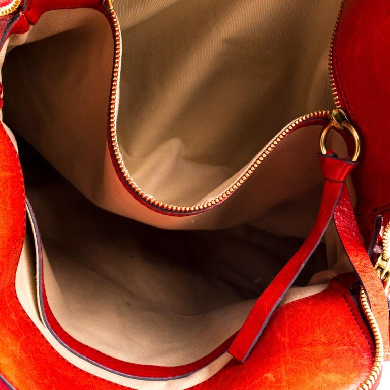 Chloe Red Leather Heloise Satchel For Sale 4