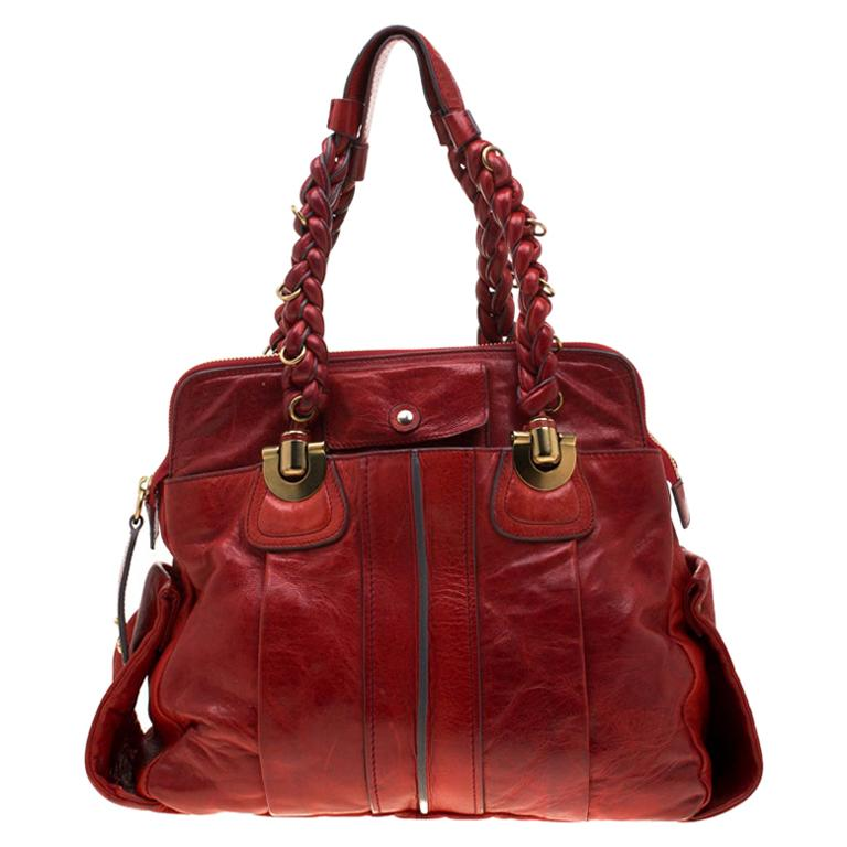 Chloe Red Leather Heloise Satchel For Sale