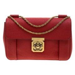 Chloe Red Leather Medium Elsie Shoulder Bag