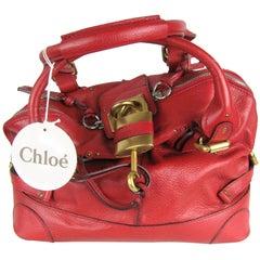 Chloe Red Over sized Leather Padington Handbag New, Never Used