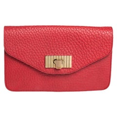 Chloe Red Pebbled Leather Sally Clutch
