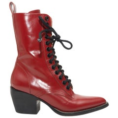 Chloe Red Rylee Pointed-Toe Lace-Up Boots