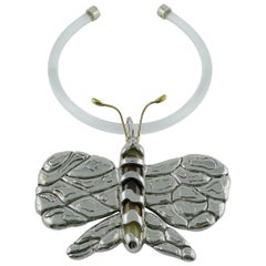 Chloe Runway 2004 Lucite Butterfly Pendant Collar Necklace