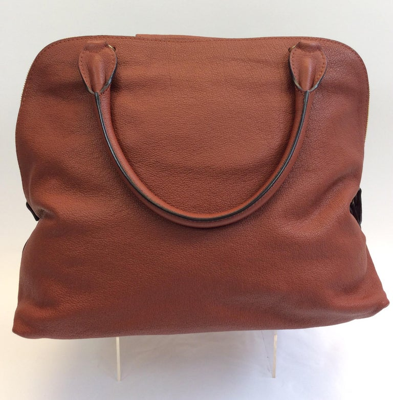 Brown Chloe Rust Leather Large Zip Tote NWT  For Sale