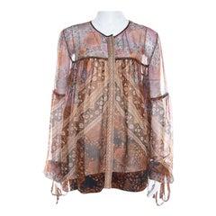 Chloe Rust Orange Printed Silk Chiffon Gathered Sleeve Detail Blouse L