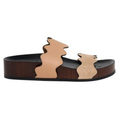 Chloe Shoe Lauren Slides Camel Leather / Sand Suede 39 / 9