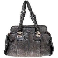 Chloe Silver Leather Heloise Satchel