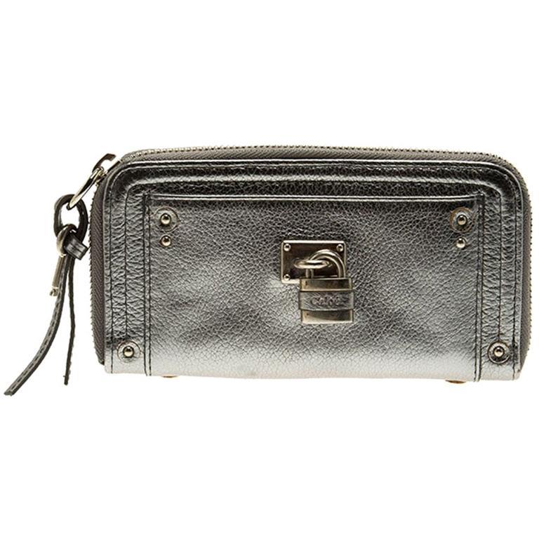 Chloe Silver Leather Zip Around Paddington Wallet