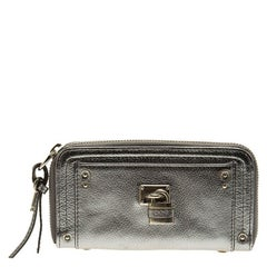 Chloe Silver Leather Zip Around Paddington Wallet