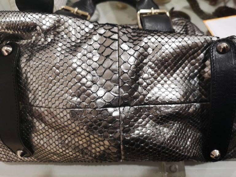 Chloè silver python skin black leather handbag 8