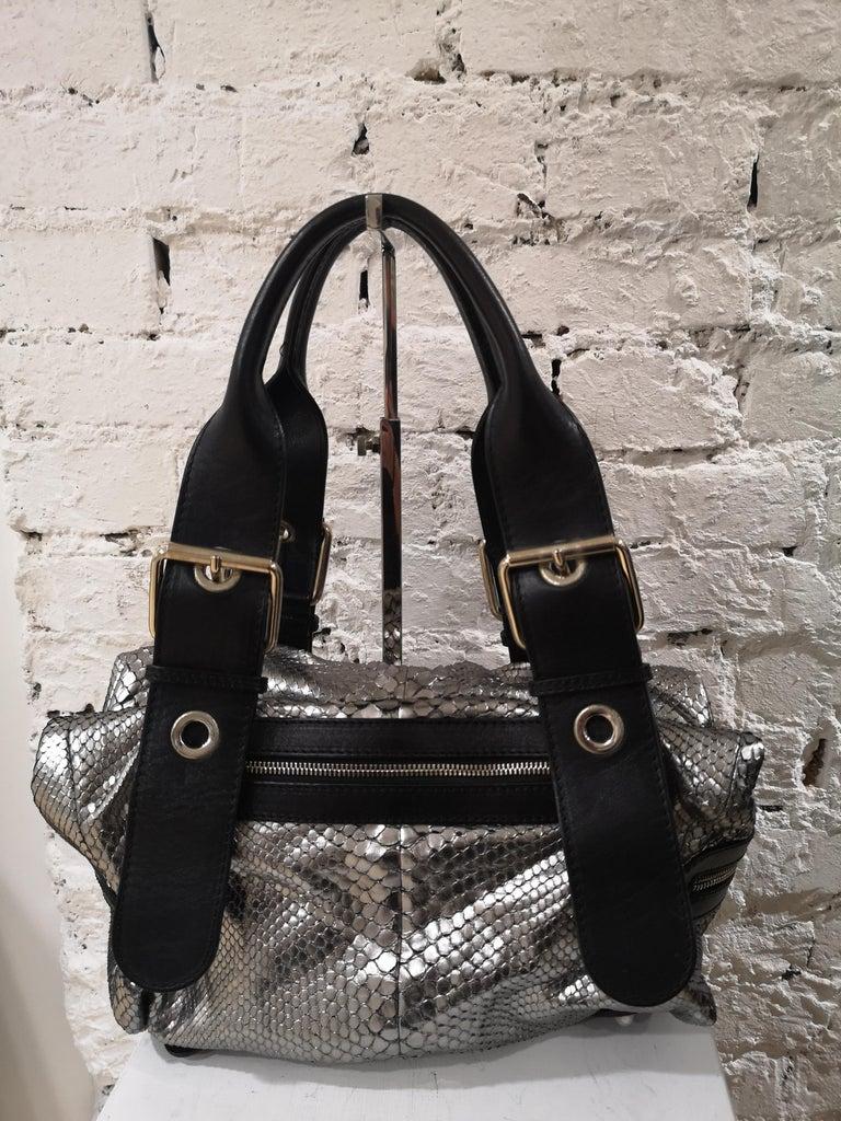 Chloè silver python skin black leather handbag 9