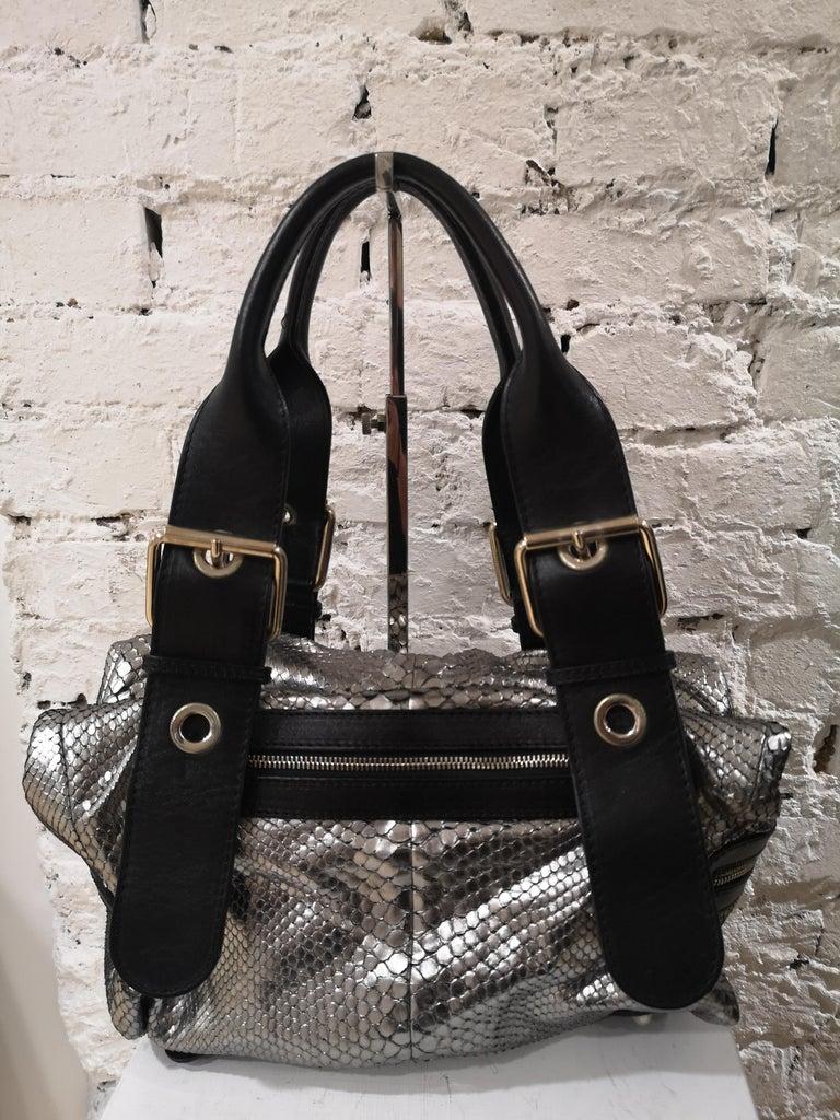 Chloè silver python skin black leather handbag 10