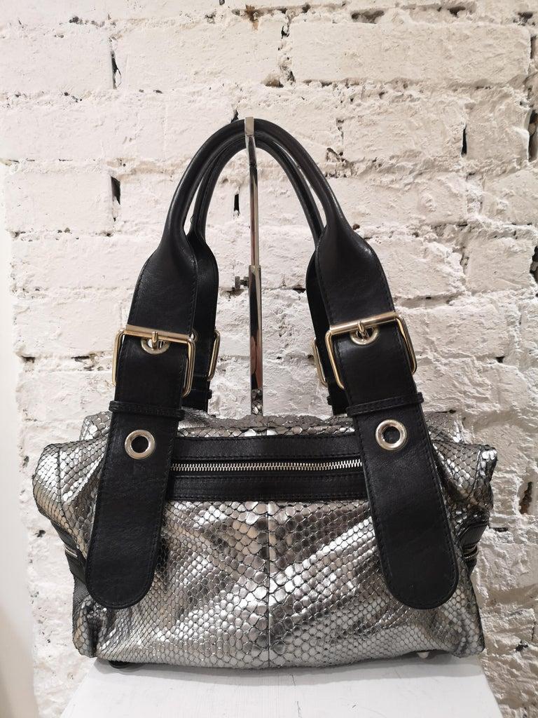 Chloè silver python skin black leather handbag 11