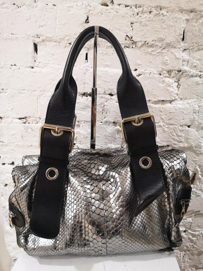 Black Chloè silver python skin black leather handbag
