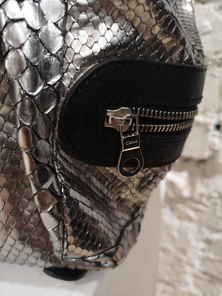 Men's Chloè silver python skin black leather handbag