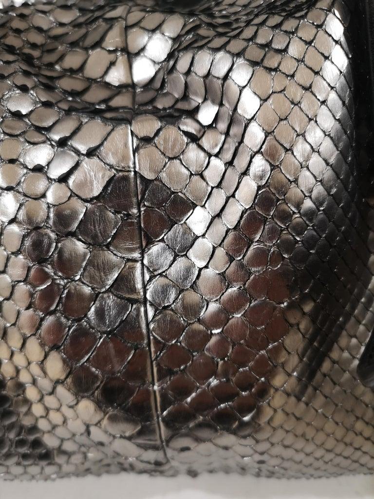 Chloè silver python skin black leather handbag 1