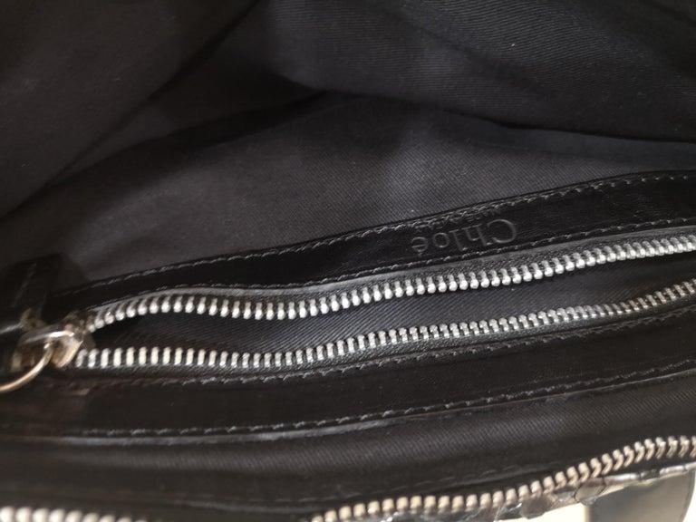 Chloè silver python skin black leather handbag 5