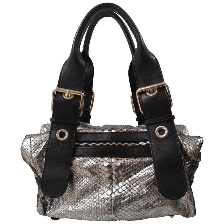 Chloè silver python skin black leather handbag