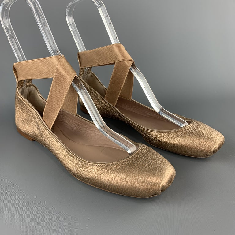 CHLOE Size 10 Metallic Rosegold Leather Elastic Strap Ballet Flats In Excellent Condition For Sale In San Francisco, CA