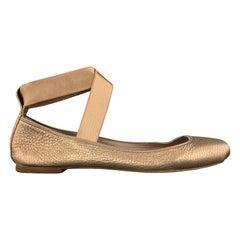 CHLOE Size 10 Metallic Rosegold Leather Elastic Strap Ballet Flats