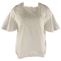 CHLOE Size 10 White Cotton Lace Trim Ruffle Sleeve Blouse