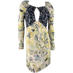 CHLOE Size 2 Yellow & Navy Floral Print Silk Long SLeeve Cocktail Dress