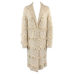 CHLOE Size 4 Cream Lace Faux Pearl Flower Notch Lapel Evening Coat