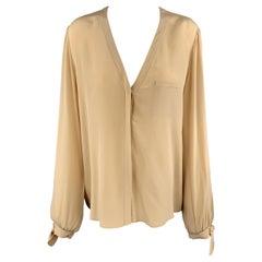 CHLOE Size 8 Beige Silk Crepe V Neck Bow Cuff Blouse