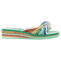 CHLOE SS16 rainbow strappy knotted open toe cork platform slide sandals EU39