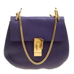 Chloe Storm Blue Leather Medium Drew Shoulder Bag