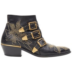 CHLOE Susanna classic black gold floral studded trio buckle flat ankle boot EU36