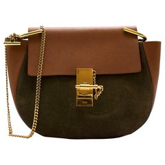 Chloe Tan/Khaki 'Drew' Suede & Leather Shoulder Bag
