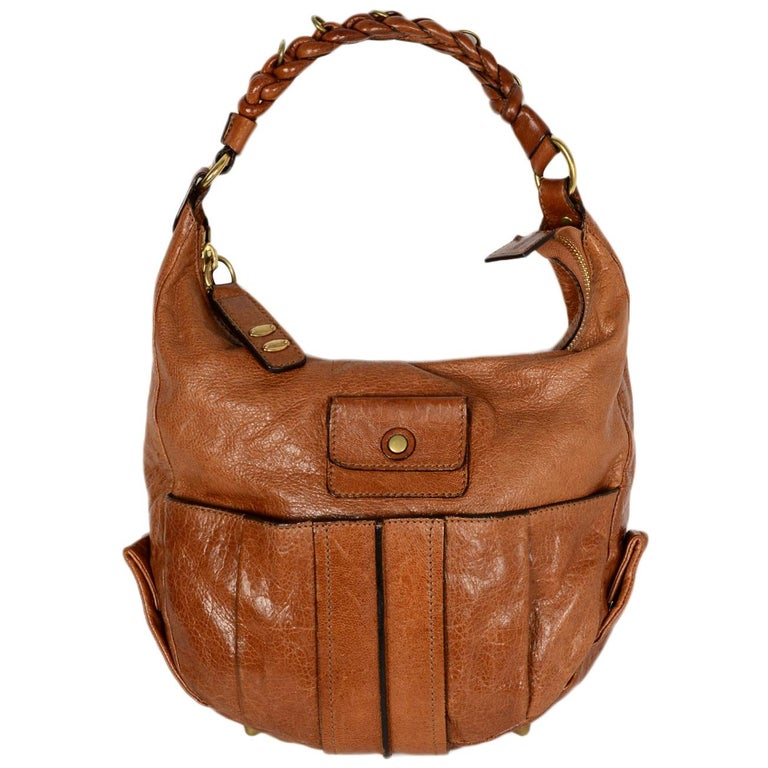 445e23a04939a Chloe Tan Leather Heloise Hobo Bag w/ Braided Shoulder Strap For Sale