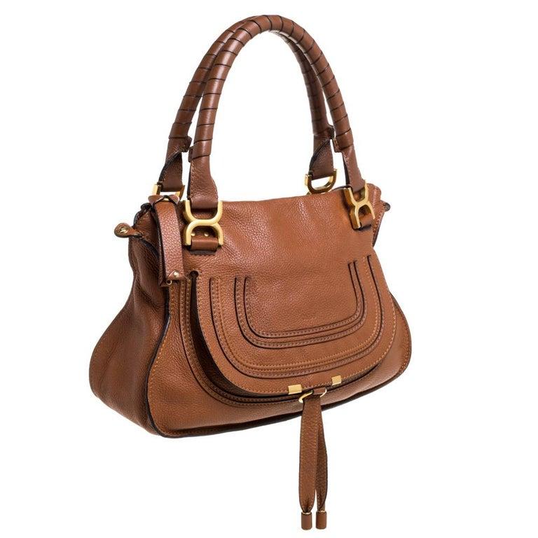 Brown Chloe Tan Leather Medium Marcie Shoulder Bag