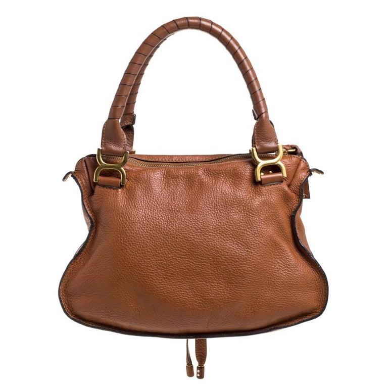 Chloe Tan Leather Medium Marcie Shoulder Bag In Good Condition In Dubai, Al Qouz 2