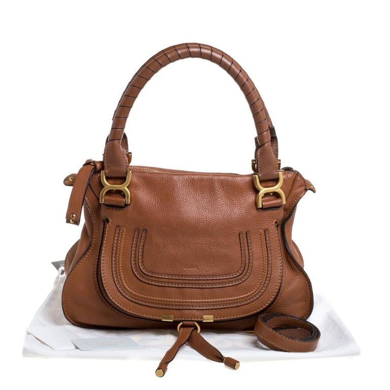 Chloe Tan Leather Medium Marcie Shoulder Bag 4