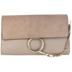 CHLOE taupe grey suede & leather MOTTY FAYE Clutch Bag