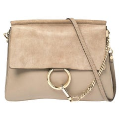Chloe Taupe Leather and Suede Medium Faye Shoulder Bag